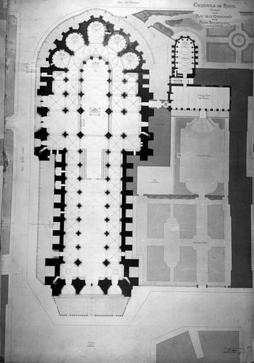 Cathédrale Notre-Dame/Archevêché (ancien), actuellement Palais du Tau Plan, relevé, cathédrale et palais archiépiscopal, Service photographique,