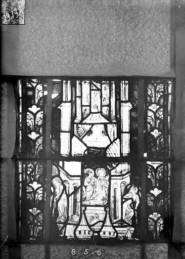 Eglise Saint-Gengoult Vitrail du transept nord, fenêtre B, 1ère lancette à gauche, panneaux au dessus 5 et 6, Romanais (photographe),