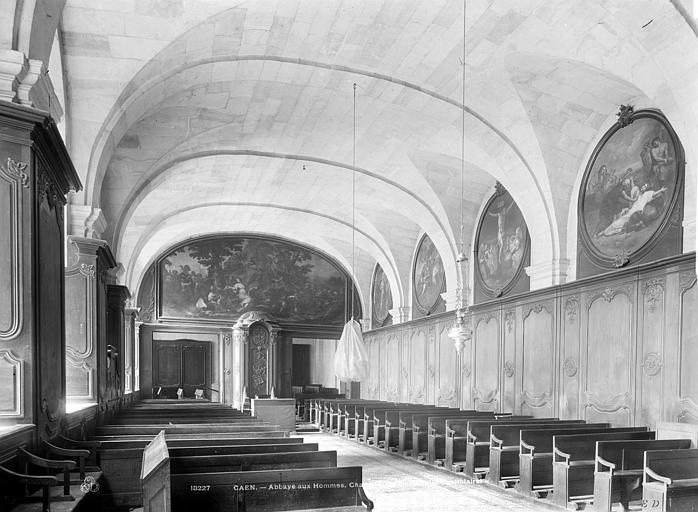 Abbaye aux Hommes (ancienne) Vue intérieure de la salle capitulaire, vers l'entrée, Durand, Jean-Eugène (photographe),