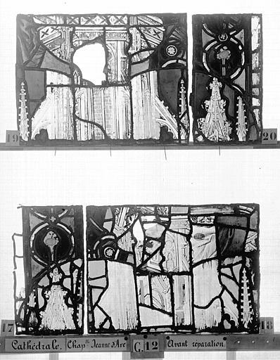 Cathédrale Vitrail, Chapelle Jeanne d'Arc, la Vierge et l'Enfant, saint jean, baie 36, sixième panneau, en haut, Heuzé, Henri (photographe),