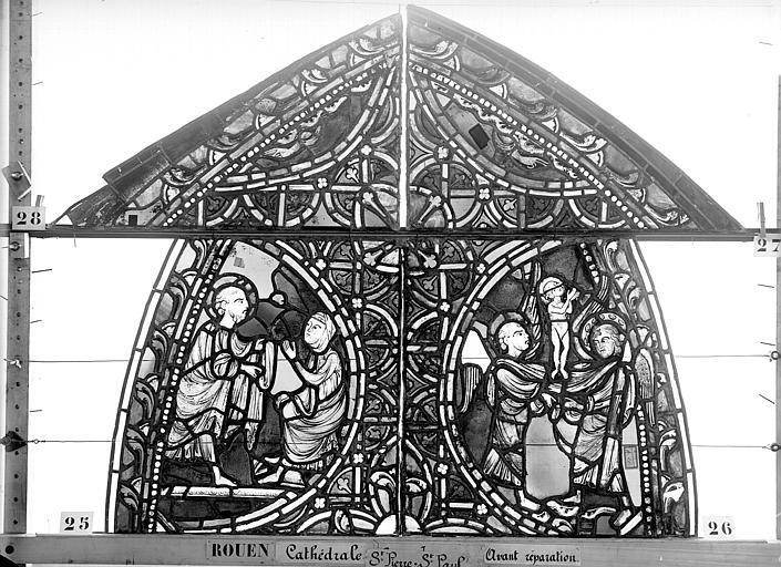 Cathédrale Vitrail, sacristie des Chanoines, saint Pierre et saint Paul, premier panneau, Heuzé, Henri (photographe),