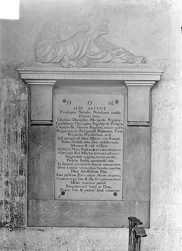 Eglise Saint-Michel Monument funéraire des frères Rigoley de Puligny morts en 1769 et 1770, premiers présidents de la Chambre des Comptes, Gossin (photographe),