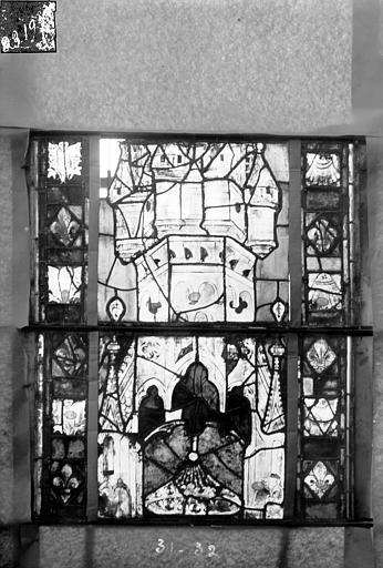 Eglise Saint-Gengoult Vitrail du transept sud, fenêtre A, 4ème lancette, panneaux 31, 32, Romanais (photographe),