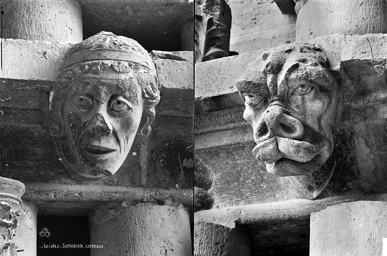 Cathédrale Notre-Dame Transept sud : détail de figures sculptées (corbeaux), Mieusement, Médéric (photographe),