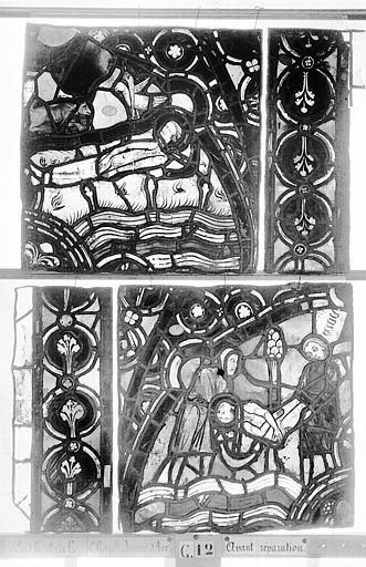 Cathédrale Vitrail, Chapelle Jeanne d'Arc, la Vierge et l'Enfant, saint jean, baie 36, troisième panneau, en haut, Heuzé, Henri (photographe),