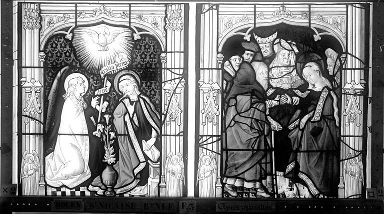 Eglise Saint-Nicaise Vitrail, fenêtre 3, bas-côté nord, panneaux, Heuzé, Henri (photographe),