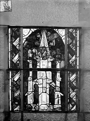 Eglise Saint-Gengoult Vitrail du transept sud, fenêtre A, 1ère lancette à gauche, panneaux inférieurs 7, 8, Romanais (photographe),