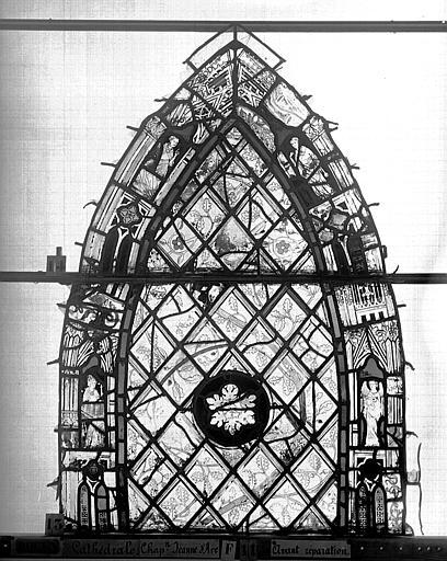 Cathédrale Vitrail, Chapelle Jeanne d'Arc, Baptême de saint jean, baie 38, premier panneau, en haut, Heuzé, Henri (photographe),