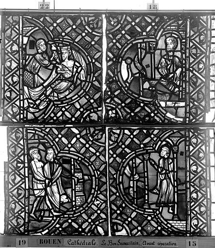 Cathédrale Vitrail, déambulatoire, baie 52, le Bon Samaritain, cinquième panneau, en haut, Heuzé, Henri (photographe),