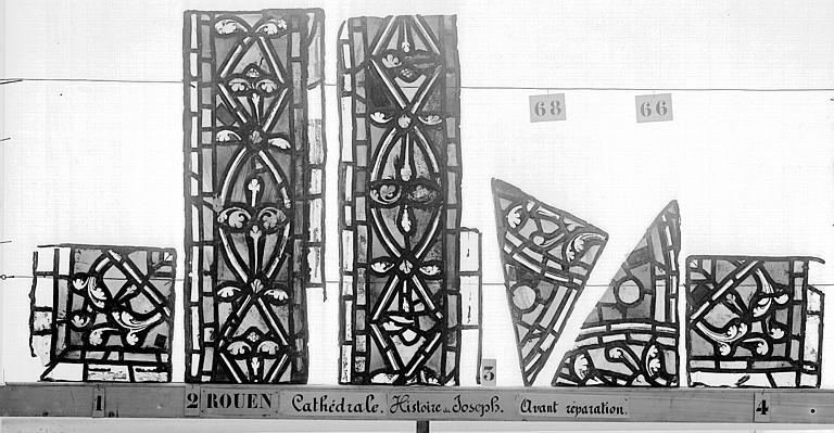Cathédrale Vitrail, déambulatoire, baie 57, Histoire de Joseph, bordures, Heuzé, Henri (photographe),