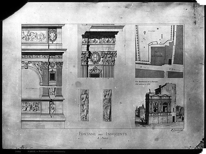 Fontaine des Innocents Dessin, Durand, Eugène (photographe), 75 ; Paris ; Médiathèque de l'Architecture et du Patrimoine