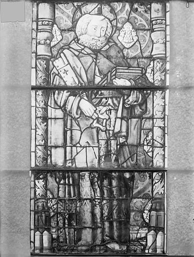 Eglise Saint-Gengoult Vitrail de la façade ouest, 1ère lancette à gauche 1, 2, 3, Romanais (photographe),