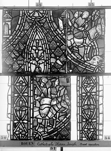 Cathédrale Vitrail, déambulatoire, baie 57, Histoire de Joseph, quatrième panneau en haut, Heuzé, Henri (photographe),