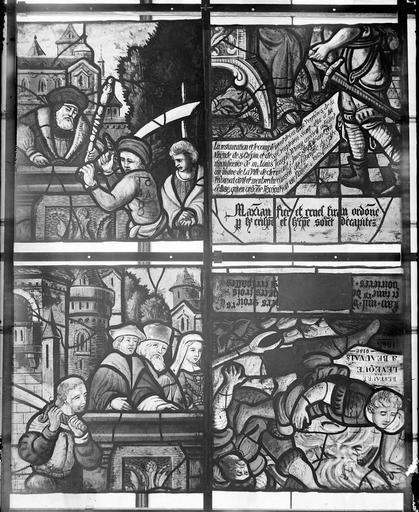 Eglise Vitraux, panneau 5 de la baie B et panneaux 3, 6, 8 de la baie C, Nadeau, H. (photographe),