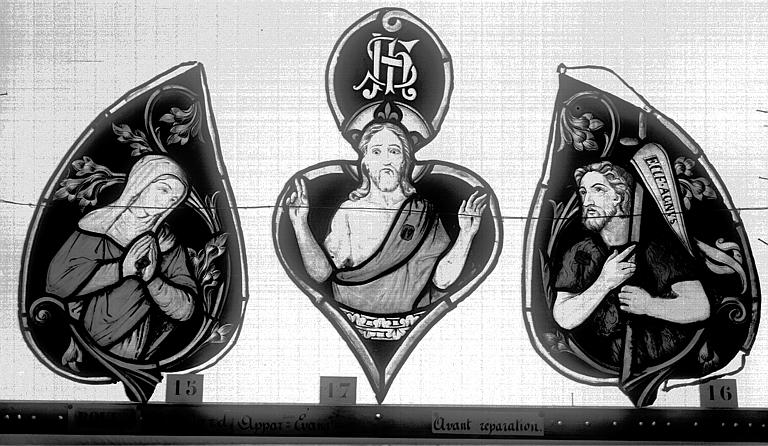 Eglise Saint-Godard Vitrail, baie 15, Apparition du Christ, tympan supérieur, Heuzé, Henri (photographe),