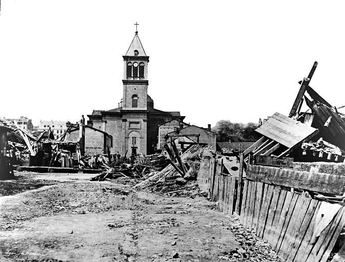 Eglise Saint-Pothin Vue des quartiers des Brotteaux, Baldus, Edouard (photographe),