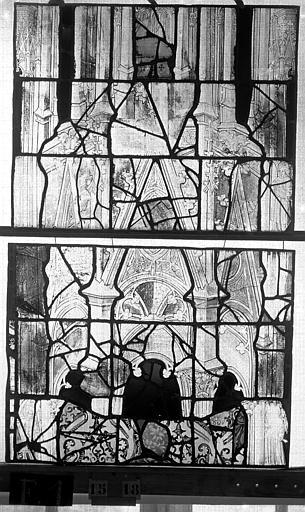 Eglise Saint-Maclou Vitrail, chapelle des Quatre Confessionnaux, sixième panneau, Heuzé, Henri (photographe),