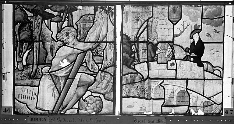 Eglise Saint-Godard Vitrail, baie 17, Vie de saint Romain, cinquième panneau, en haut, Heuzé, Henri (photographe),