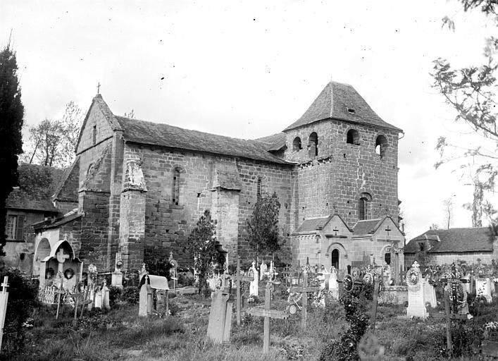 Eglise Saint-Sanctin ou Saint-Xantin Angle sud-ouest et cimetière, Chaine, Henri (architecte),