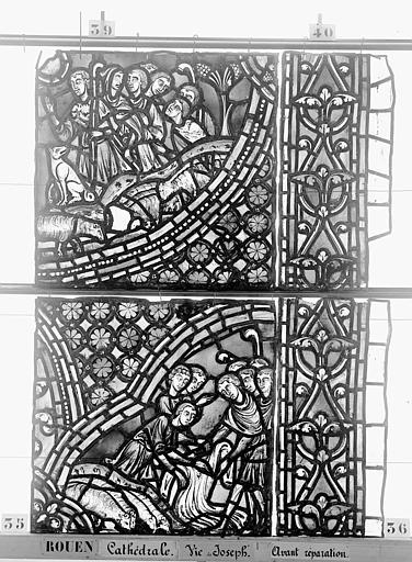 Cathédrale Vitrail, baie 59, Vie de Joseph, sixième panneau, en haut, Heuzé, Henri (photographe),
