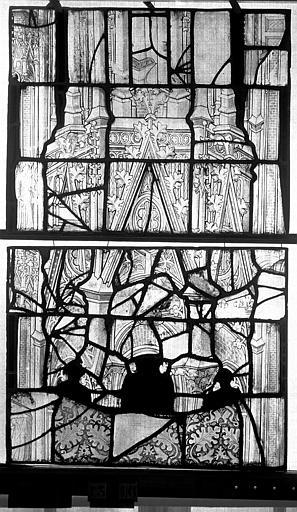 Eglise Saint-Maclou Vitrail, chapelle des Quatre Confessionnaux, quatrième panneau, Heuzé, Henri (photographe),