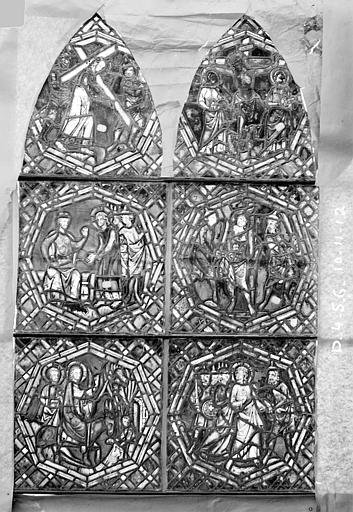 Eglise Saint-Gengoult Vitrail de la petite chapelle absidiale D, panneaux supérieurs des deux lancettes 4, 5, 6, 10, 11, 12, Romanais (photographe),
