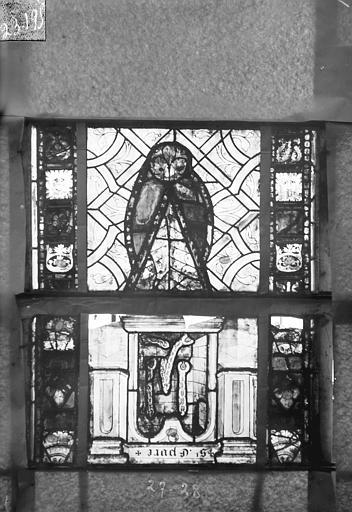 Eglise Saint-Gengoult Vitrail du transept sud, fenêtre A, 4ème lancette, panneaux 27, 28, Romanais (photographe),