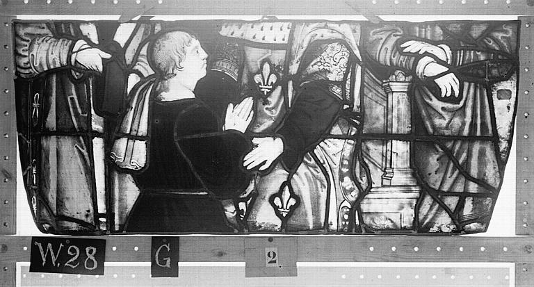 Cathédrale Vitrail, Chapelle Saint-Joseph, tympan droit, Légende de saint Romain, deuxième panneau, en haut, Heuzé, Henri (photographe),