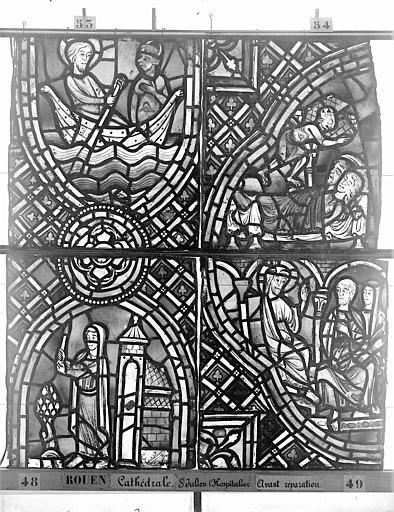 Cathédrale Vitrail, déambulatoire au nord, saint Julien l'Hospitalier, troisième panneau, en haut, Heuzé, Henri (photographe),