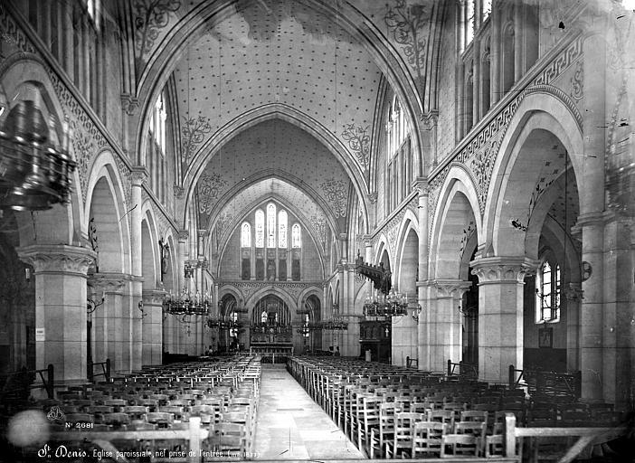 Eglise Saint-Denys-de-l'Estrée Vue intérieure de la nef, vers le choeur, Mieusement, Médéric (photographe),