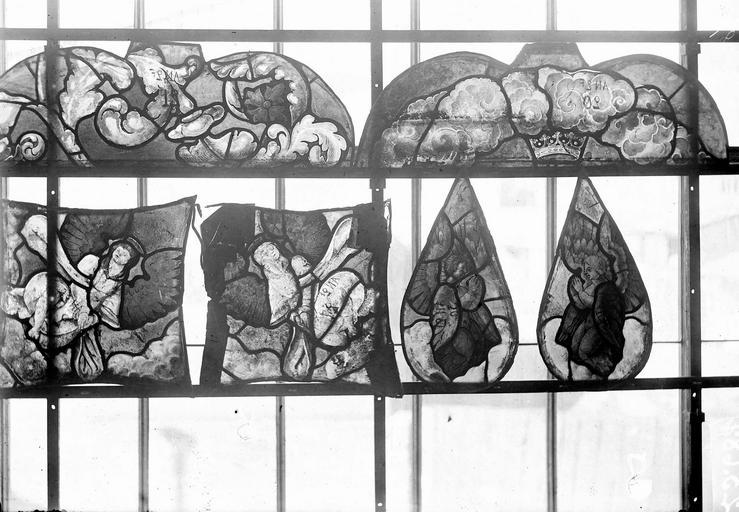 Eglise Vitraux, panneaux 21, 23, 25, 26, 28, 33 de la baie E, Nadeau, H. (photographe),