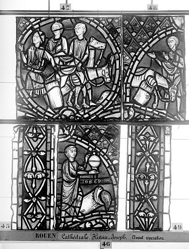 Cathédrale Vitrail, déambulatoire, baie 57, Histoire de Joseph, cinquième panneau en haut, Heuzé, Henri (photographe),