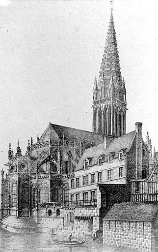 Eglise Saint-Pierre Gravure : ensemble nord-est, Heuzé, Henri (photographe),