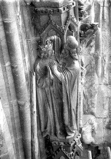 Cathédrale Notre-Dame Portail ouest, voussure de la rose de la grande porte, Sacre de Saül, Lajoie, Abel,