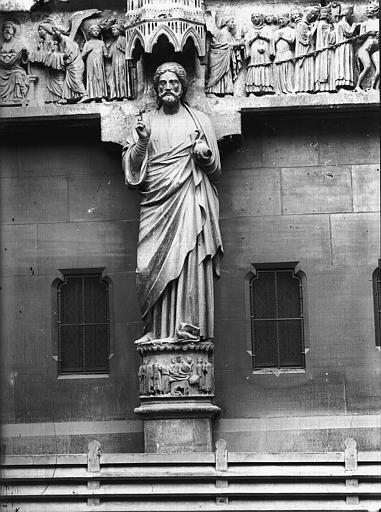 Cathédrale Notre-Dame Portail nord, portail de la Résurrection, statue du Christ dite le Beau Dieu, Lajoie, Abel,