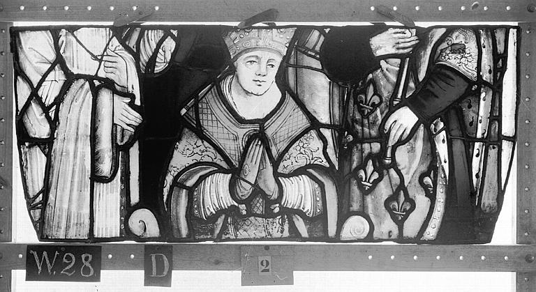 Cathédrale Vitrail, Chapelle Saint-Joseph, tympan gauche, Légende de saint Romain, deuxième panneau, en haut, Heuzé, Henri (photographe),