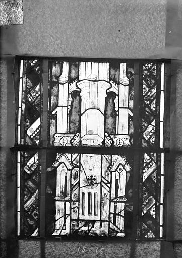 Eglise Saint-Gengoult Vitrail du transept sud, fenêtre A, 2ème lancette, panneaux supérieurs 15, 16, Romanais (photographe),