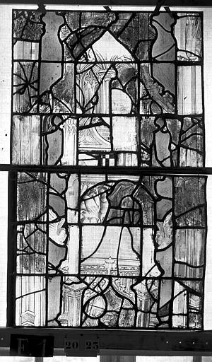 Eglise Saint-Maclou Vitrail, chapelle des Quatre Confessionnaux, deuxième panneau médian, Heuzé, Henri (photographe),