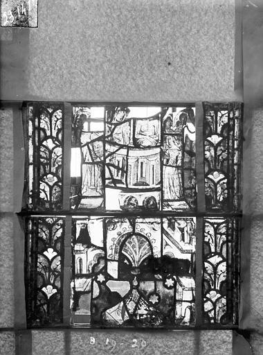 Eglise Saint-Gengoult Vitrail du transept nord, fenêtre B, 3ème lancette, panneaux  au dessus 19, 20, Romanais (photographe),
