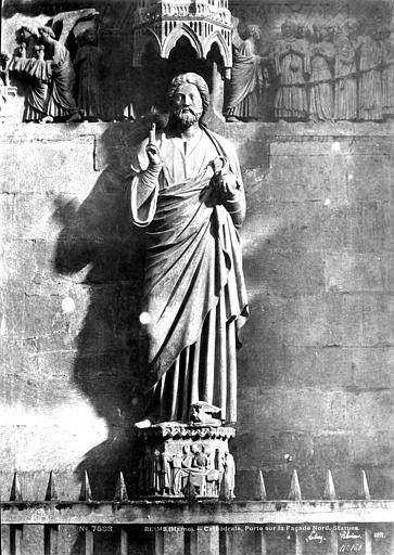 Cathédrale Notre-Dame Portail du Jugement dernier au transept nord : Christ bénissant au trumeau, Le Secq, Henri (photographe),