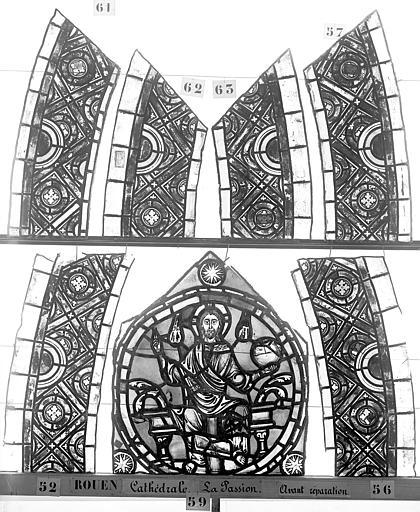 Cathédrale Vitrail, déambulatoire, la Passion, bordures, Heuzé, Henri (photographe),