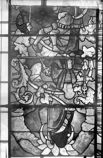 Eglise Vitraux, panneaux 5, 11, 18 de la baie E, Nadeau, H. (photographe),