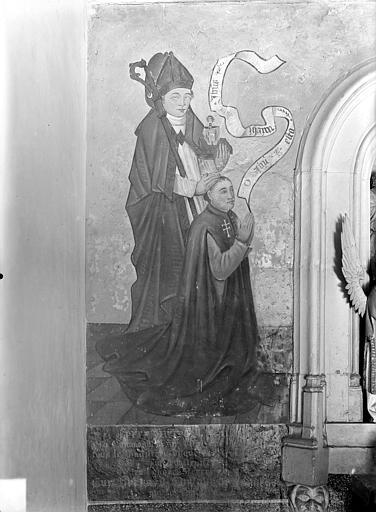Hôpital général Peinture murale encadrant la Mise au tombeau dans la chapelle Sainte-Croix : Donateur et son saint patron (côté gauche), Gossin (photographe),