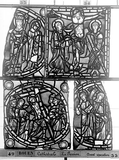 Cathédrale Vitrail, déambulatoire, la Passion, premier panneau, Heuzé, Henri (photographe),