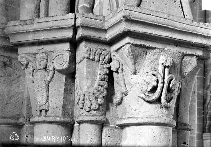 Eglise Saint-Lucien Chapiteaux du 2ème pilier de la nef et du bas-côté sud (face est), Robert, Paul (photographe),