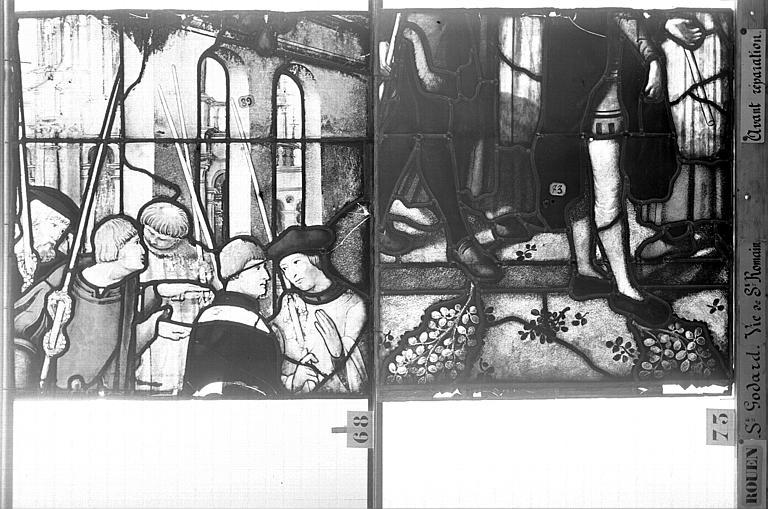 Eglise Saint-Godard Vitrail, baie 17, Vie de saint Romain, dixseptième panneau, en haut, Heuzé, Henri (photographe),