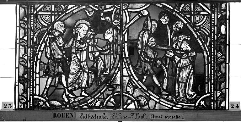 Cathédrale Vitrail, sacristie des Chanoines, saint Pierre et saint Paul, deuxième panneau, Heuzé, Henri (photographe),