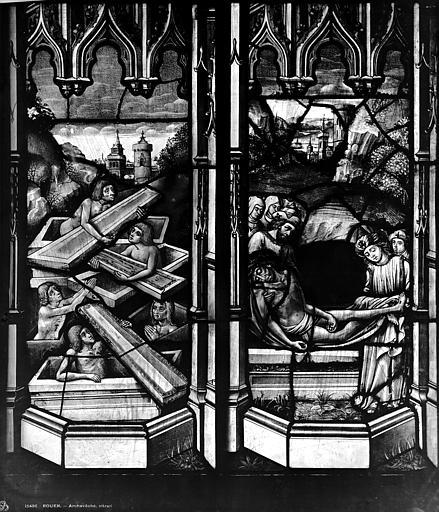 Archevêché Vitrail, Le Christ en croix transpercé d'une lance, Résurrection des morts, Leprévost (photographe),