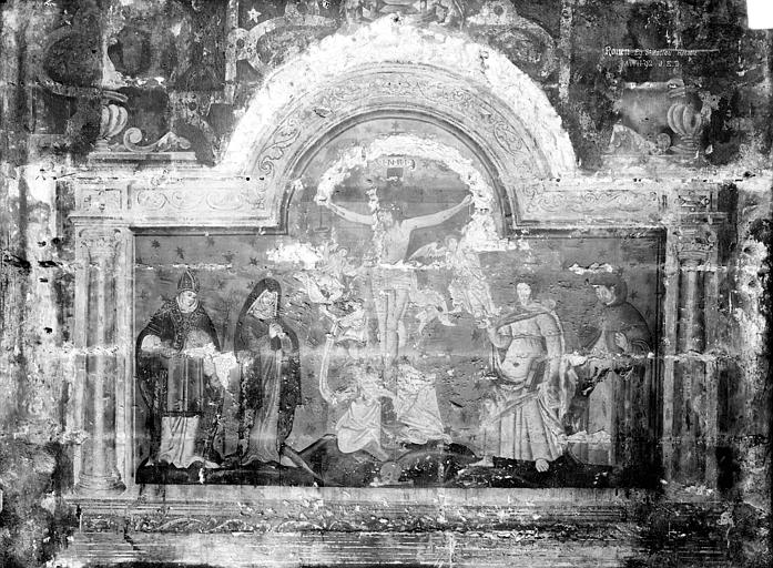 Eglise Saint-Maclou Peinture murale au sud de la nef : Le Christ en croix entre la Vierge et saint Jean, Durand, Jean-Eugène (photographe),