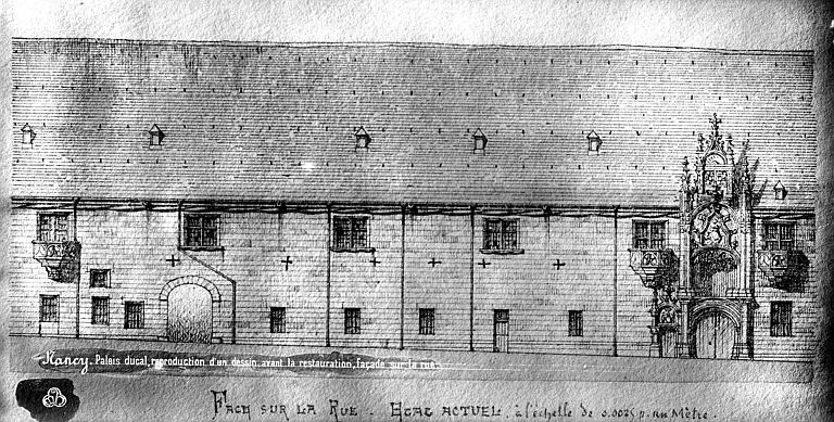 Palais Ducal (ancien) Dessin : Façade sur rue, Mieusement, Médéric (photographe),